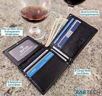 RAE RFID Wallet for Men - Genuine Full Grain Leather Flip RFID Blocking Wallet