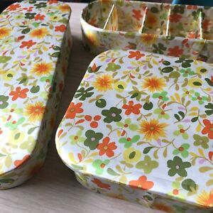 3 Vintage Quilted Vanity Boxes Satin Floral Hanky Gloves Jewelry Mod Storage Box