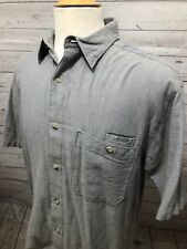 NWT Woolrich Men's Grey Short Sleeve Button Front Shirt Size M Medium