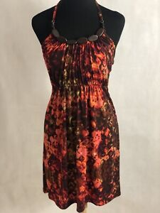 Stunning B.Smart Women's Orange Multi With Wood Accents Sun Dress Size 6