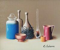 Quadro Moderno Dipinto ad Olio firmato Cerbone Natura Morta con vasi e oggetti