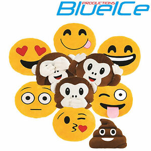 Emoji Emoticon Yellow Round Cushion Stuffed Pillow Plush Soft Toys Decor UK