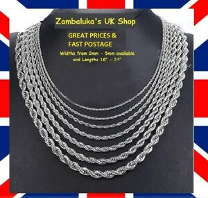 """STAINLESS STEEL 316L ROPE TWIST MENS CHAIN NECKLACE 2-5MM, 18""""-25"""" No 4"""