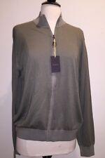 NEW Canali Mens Sweater Jacket Olive Khaki Zip Up Cotton Silk Blend Sz50 M $925