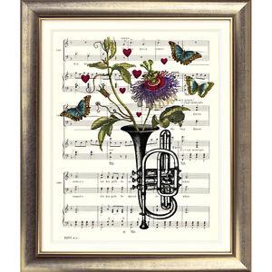 ART PRINT ORIGINAL VINTAGE MUSIC SHEET Page TRUMPET Flower Picture BUTTERFLY ART