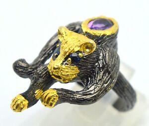 18 KT. YELLOW GOLD & 925 SILVER AMETHYST & SAPPHIRE EYES GEMSTONE TIGER RING
