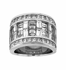 Wide Ring 18K White Gold 6.20ct Princess & Baguette Right Hand