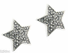Ladies Silver Finished 16mm Large Stars Lab Cz Screw Back Stud Earrings