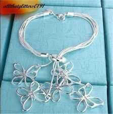 Silver Plated Multi Strand Five Butterfly Bracelet