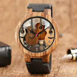 Acoustic Guitars Bamboo Natural Wood Gift Watch Leather Strap Laser Engraving
