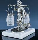 V.FINE VICTORIAN PERSIAN MAN FIGURAL SILVER PLATE CUT GLASS CONDIMENT CRUET SET