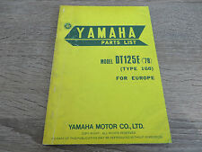 Yamaha parts list spare parts catalog DT125E ´78 Type 1G0 Exploded-View Drawings