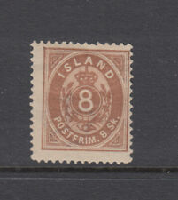 Iceland Sc 3 Numeral 8 Skilling Brown Mint Hinged OG