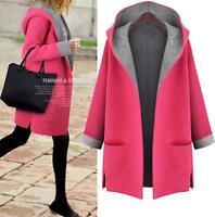 Fashion Women Autumn Winter Warm Long Sleeve Hooded Coat Jacket Cardigan Outwear