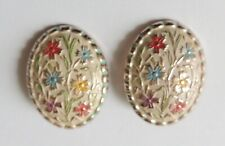 1940s Multicolor Floral Enamel Clip Earrings, Lightweight, Pink Gold-Tone