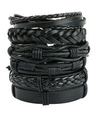 6pcs Black Braided Leather Bracelet for Men Women Cuff Wrap Wristband Set Gift