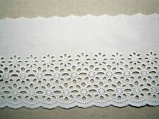 Cotton Fabric Eyelet Lace Trim 5.5 Inch(14cm)  Flowers White doll dress 1yd