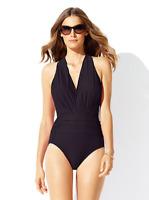 Badgley Mischka Women's Black Dip Back Mio One Piece Swimsuit Sz 10 3619