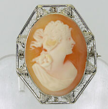 gold hand carved shell filigree frame Antique cameo brooch pendant pin 14K white