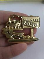 Vintage Real Estate House Sold pin pinback button brooch AJC *FF