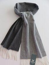 Lyle & Scott 100% cashmere scarf dark grey cream striped mens ladies wool