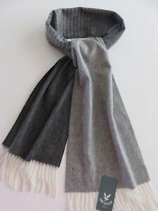 Lyle & Scott cashmere scarf dark grey cream striped NEW mens ladies wool