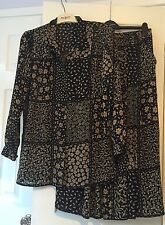 Mad Jak Designs Black & Brown Floral Lightweight Skirt & Blouse Two Piece Size M