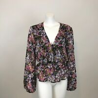 Wayf Smocked Waist Faux Wrap Top Shirt Womens L Pink Floral Long Sleeve