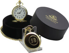 PERSONALISED 24k Gold Clad Pocket Watch CUSTOM Engraved FREE  LUXURY GIFT BOXED