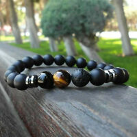 Hot Men 8MM Lava Rock Tiger Eye Stone Ball Bracelets Gemstone Beaded Bracelets