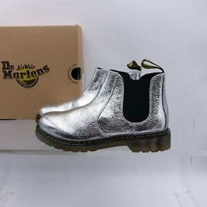 Size 5 Women's / 4Y Youth Dr. Martens 2976 Pull-On Boots 25843040 Silver/Crinkle