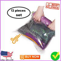 12 Travel Space Saver Bags - No Vacuum or Pump Needed - Luggage Accessories