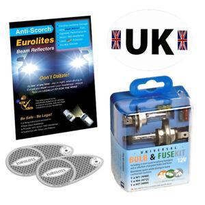 Headlight Deflectors Euro Europe Travel Bulb Kit UK Sticker Driving Abroad Set