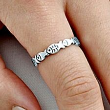.925 Sterling Silver Ring size 4 Christian Fish Kids Midi Ladies Knuckle New p87