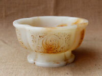 "6"" China old antique handcarved white jade flower bowl"