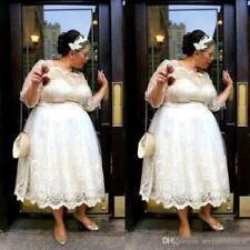 Plus Size Tea Length Wedding Dresses A Line Bridal Gowns 3/4 Sleeves Custom Made