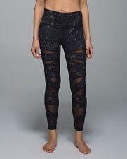 Lululemon High Times Pant Tech Mesh Yoga Tights star crushed coal black Size 6