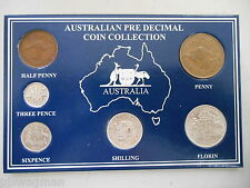 1959 AUSTRALIAN Pre Decimal 6 coin set IN SPECIAL CARD (very Nice) BIRTHDAY GIFT