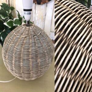 Vintage Woven RETRO TIKI BOHO  Rattan Wicker Cane Globe Lamp Base