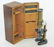 SUPERB ANTIQUE / VINTAGE BRASS MICROSCOPE & CASE by OPTICA
