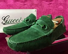 $620 Mens Gucci Green Suede  Horse Bit Loafers Sz 8.5 G / 9.5 US Made In ITALY