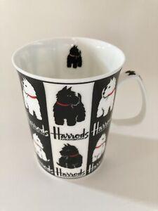 Mug HARRODS Knightsbridge FINE BONE CHINA Black White Scottie Westie Dog England