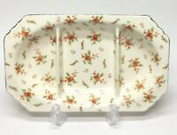 Vintage 3 Section Divided Dish Veggie Tray w/ Tab Handles /Floral Pattern -Japan