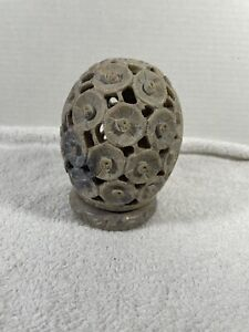 Benzara Stylish Soapstone Tea-Light Candle Cage Holder - Carved flowers Gray Egg