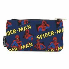 More details for loungefly spiderman nylon zip pencil case pen bag kids school bag