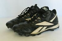 REEBOK Men Size 9 Medium Baseball Cleats Black And White Leather Upper Sports