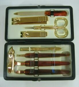 Gold Tone Manicure Pedicure Set In Hard Case Made In Korea Grooming Travel Kit