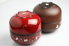 BENTO Lunch box Japonaise rouge marron lapin façon bois laqué  2 bols +compartim