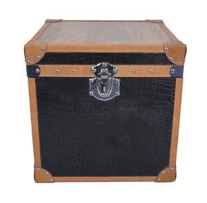 Indian Designer Pure Genuine Black Croco Leather Box with Veneer on Top Trunk