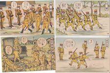 Guerre 39-45 WW2 JAPON Propagande 4 cartes militaires humoristiques style Manga